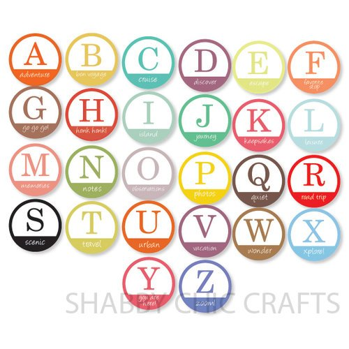Chic Tags - Delightful Paper Tags - Vacation Monogram Tags - Set of 26