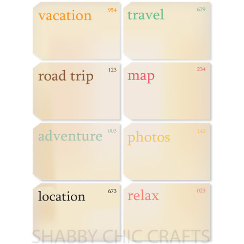 Chic Tags - Delightful Paper Tags - Vacation Vintage Flashcards - Set of 8