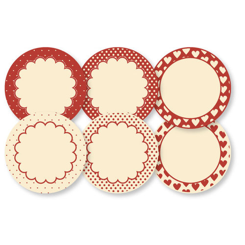Chic Tags - Delightful Paper Tags - Valentine Polkadots and Scallops - Set of 6