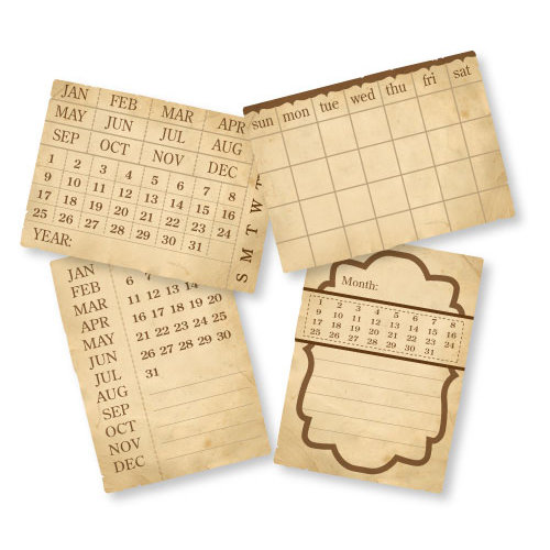 Chic Tags - Delightful Paper Tags - Vintage Calendar Cards - Set of 4