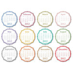 Chic Tags - Delightful Paper Tags - 2012 Chic Calendars - Color - Set of 12