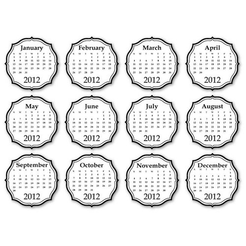 Chic Tags - Delightful Paper Tags - 2012 Chic Calendars - Black - Set of 12