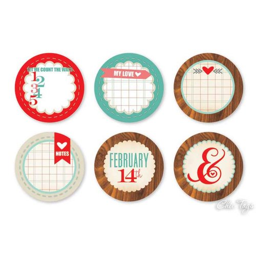 Chic Tags - Delightful Paper Tags - Valentine Collection - Love Note Circles - Set of 6