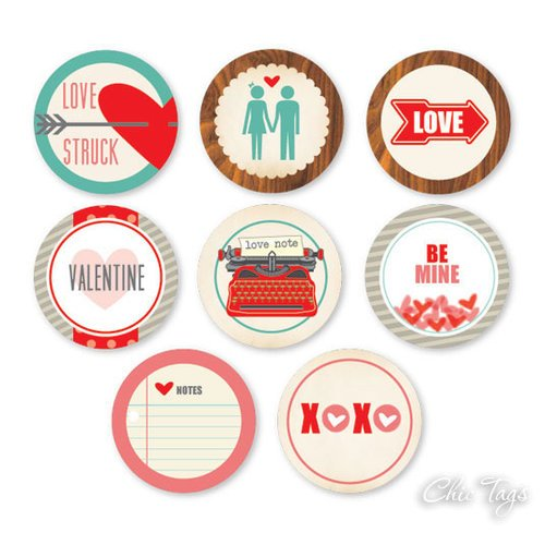 Chic Tags - Delightful Paper Tags - Valentine Collection - Love Note Icons - Set of 8