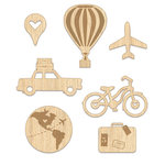 Chic Tags - Lets Go Collection - Wood Veneer Shapes - Traveling