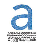 Doodlebug Design - Sugar Coated - Adhesive Chipboard Alphabet - Hopscotch Font - Blue Jean