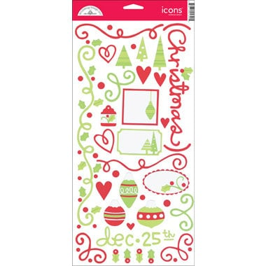 Doodlebug Design - Christmas Collection - Cardstock Stickers - Jolly Holly Days