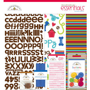 Doodlebug Design - Bow Wow Dog Collection - 12x12 Essentials Kit - Bow Wow