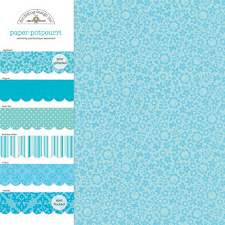 Doodlebug Design - Potpourri - 12 x 12 Paper Assortment - Swimming Pool, CLEARANCE