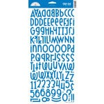 Doodlebug Design - Shin-Dig Collection - Flocked Velvet Coated Alphabet Cardstock Stickers - Blue Jean, CLEARANCE