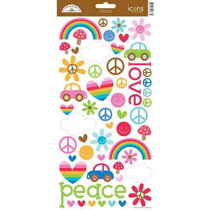 Doodlebug Design - Feeling Groovy Collection - Cardstock Stickers - Icons