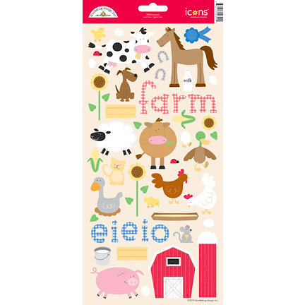 Doodlebug Design - Barnyard Collection - Cardstock Stickers - Icons