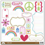Doodlebug Design - Feeling Groovy Collection - Cute Cuts - 12 x 12 Cardstock Die Cuts