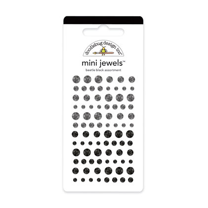 Doodlebug Design - Jewels Adhesive Rhinestones - Mini - Beetle Black