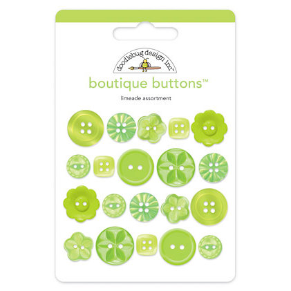 Doodlebug Design - Boutique Buttons - Assorted Buttons - Limeade