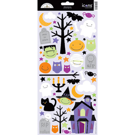 Doodlebug Design - Spooky Town Collection - Halloween - Sugar Coated Cardstock Stickers - Icons