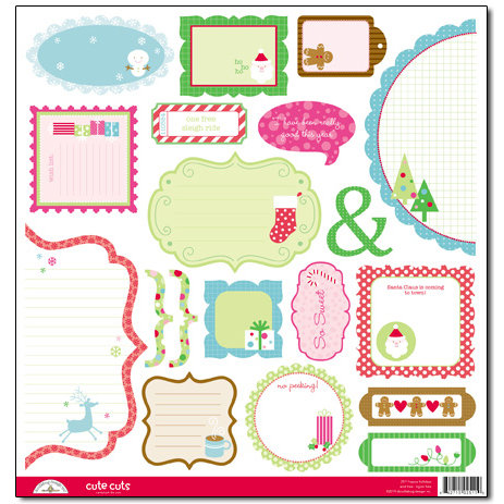 Doodlebug Design - Happy Holidays Collection - Cute Cuts - 12 x 12 Cardstock Die Cuts