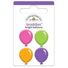 Doodlebug Design - Cake and Ice Cream Collection - Brads - Bright Balloons Braddies