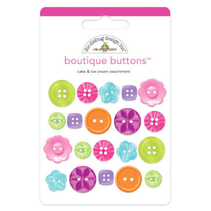 Doodlebug Design - Cake and Ice Cream Collection - Boutique Buttons - Assorted Buttons - Cake and Ice Cream