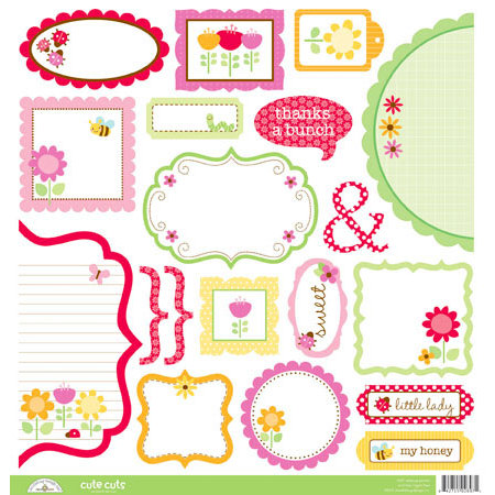 Doodlebug Design - Ladybug Garden Collection - Cute Cuts - 12 x 12 Cardstock Die Cuts