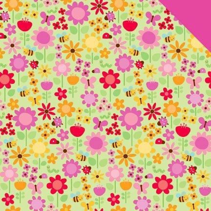 Doodlebug Design - Ladybug Garden Collection - 12 x 12 Sugar Coated Double Sided Paper - Ladybug Garden