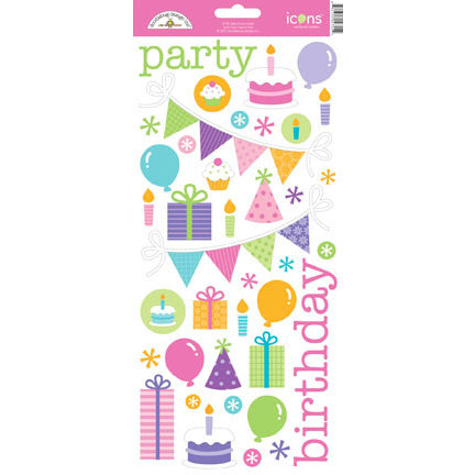 Doodlebug Design - Cake and Ice Cream Collection - Sugar Coated Cardstock Stickers - Icons
