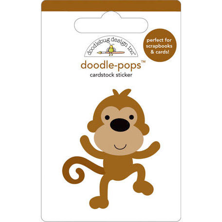 Doodlebug Design - Doodle-Pops - 3 Dimensional Cardstock Stickers - Monkey