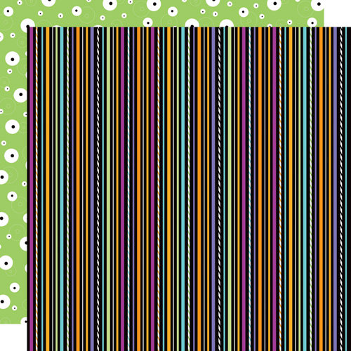 Doodlebug Design - Monster Mania Collection - Halloween - 12 x 12 Double Sided Paper - Monster Stripe