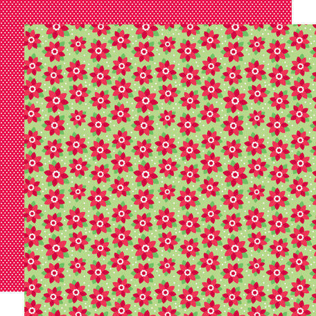 Doodlebug Design - Santa's Workshop Collection - Christmas - 12 x 12 Double Sided Paper - Pretty Poinsettias