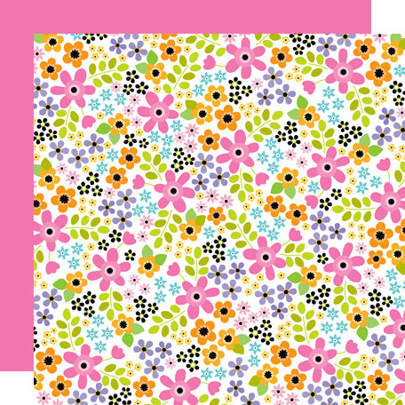 Doodlebug Design - Colorwheel Collection - 12 x 12 Sugar Coated Double Sided Paper - Bouquet