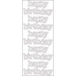 Doodlebug Design - Doodles - Cardstock Stickers - Happy Birthday - Lily White