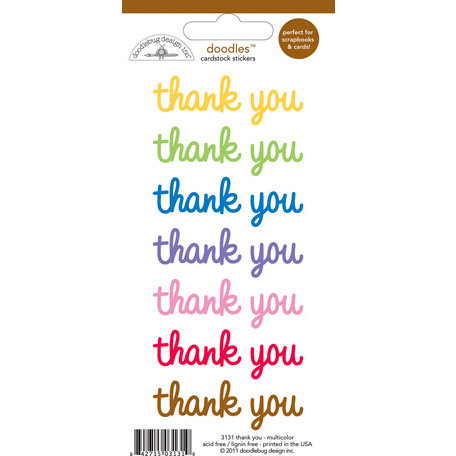 Doodlebug Design - Doodles - Cardstock Stickers - Thank You - Multicolor