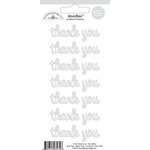 Doodlebug Design - Doodles - Cardstock Stickers - Thank You - Lily White