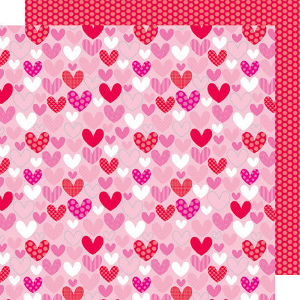Doodlebug Design - Sweet Cakes Collection - 12 x 12 Sugar Coated Double Sided Paper - Lots of Love
