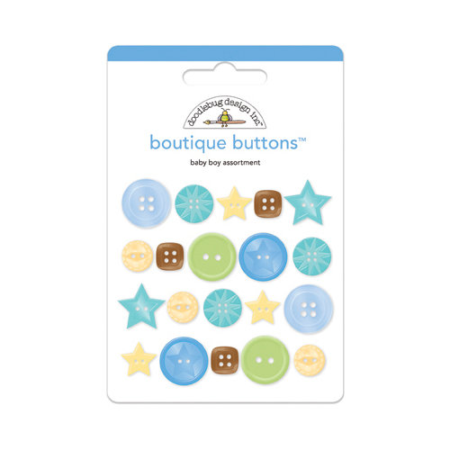 Doodlebug Design - Snips and Snails Collection - Boutique Buttons - Assorted Buttons - Baby Boy