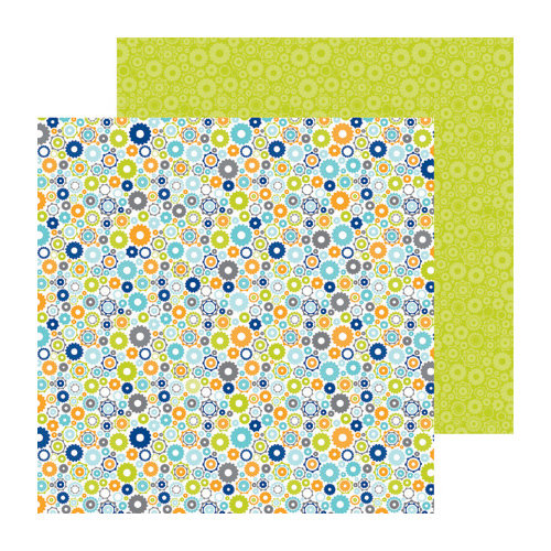 Doodlebug Design - Boys Only Collection - 12 x 12 Double Sided Paper - Geared Up