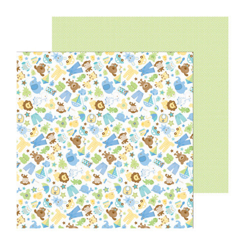 Doodlebug Design - Snips and Snails Collection - 12 x 12 Double Sided Paper - Snips and Snails