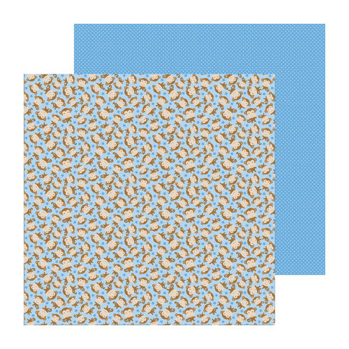 Doodlebug Design - Snips and Snails Collection - 12 x 12 Double Sided Paper - Monkey Business