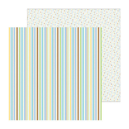 Doodlebug Design - Snips and Snails Collection - 12 x 12 Double Sided Paper - Nursery Stripe