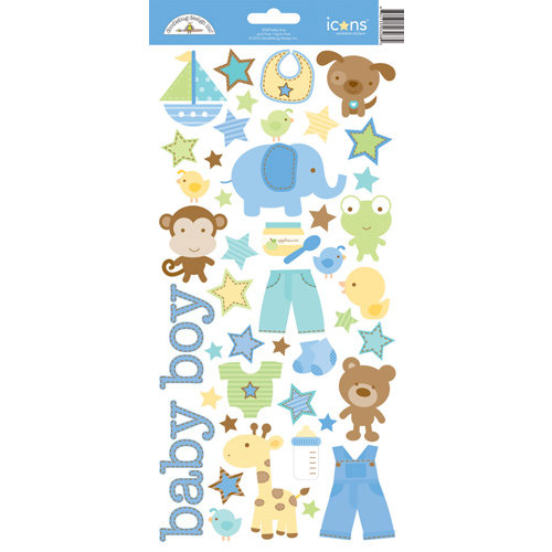 Doodlebug Design - Snips and Snails Collection - Cardstock Stickers - Icons