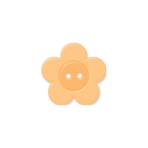 Doodlebug Design - Oodles - Buttons - Flower - 19 mm - Apricot