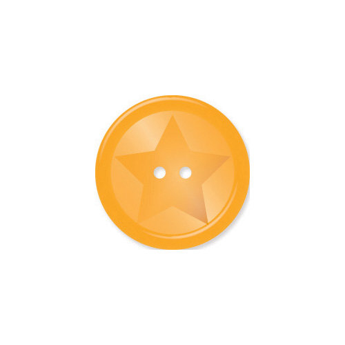 Doodlebug Design - Oodles - Buttons - Round Star - 19 mm - Tangerine