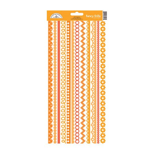 Doodlebug Design - Cardstock Stickers - Fancy Frills - Tangerine