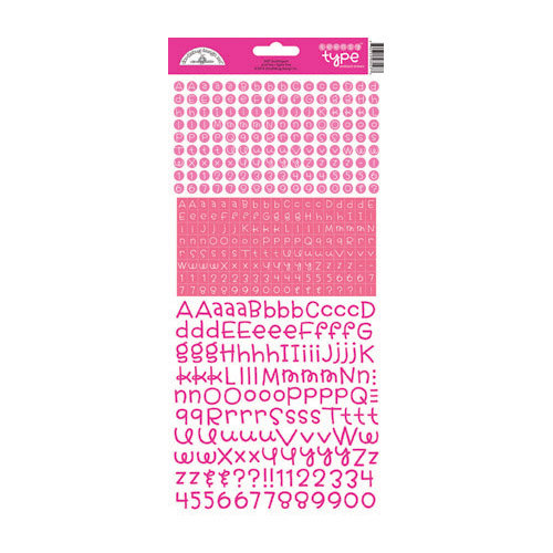 Doodlebug Design - Alphabet Cardstock Stickers - Teensy Type - Bubblegum