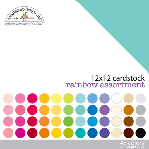 Doodlebug Design - 12 x 12 Texture Cardstock Assortment - Rainbow