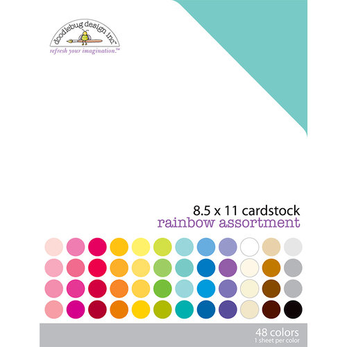 Doodlebug Design - 8.5 x 11 Texture Cardstock Assortment - Rainbow
