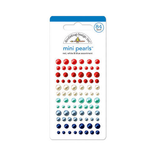 Doodlebug Design - Stars and Stripes Collection - Adhesive Pearls - Mini - Red, White and Blue