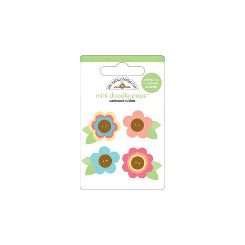 Doodlebug Design - Flower Box Collection - Doodle-Pops - 3 Dimensional Cardstock Stickers - Mini - Primrose