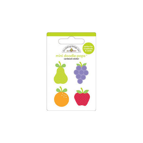 Doodlebug Design - Fruit Stand Collection - Doodle-Pops - 3 Dimensional Cardstock Stickers - Mini - Fruit Cocktail
