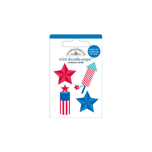 Doodlebug Design - Stars and Stripes Collection - Doodle-Pops - 3 Dimensional Cardstock Stickers with Glitter - Mini - Fire Cracker